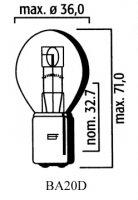 AMPOULE BA20D S1 12V 25-25 (Unité) LP3923