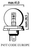 AMPOULE P45T CODE EUROPE 12V 45/40 LP3940