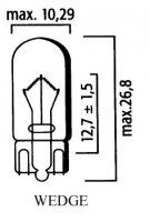 AMPOULE WEDGE Bte 10 12V 5W W2.1x9,5d LP4291