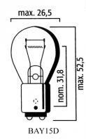 AMPOULE BAY15D STOP Bte10 12V21/5W Inc LP5229I