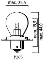 AMPOULE P26S COLLERETTE Bte 10 6V 15W LP6000
