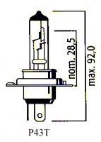 AMPOULE P43T H4 12V 60/55 (Unité) LP625543