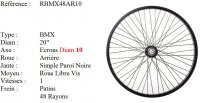ROUE BMX 20 48 RAYONS NOIR CNC AXE10 ARRIERE Freestyle RBMX48AR10