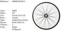 ROUE BMX 20 48 RAYONS NOIR CNC AXE14 ARRIERE Freestyle RBMX48AR14